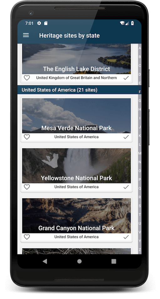World Heritage app - Android