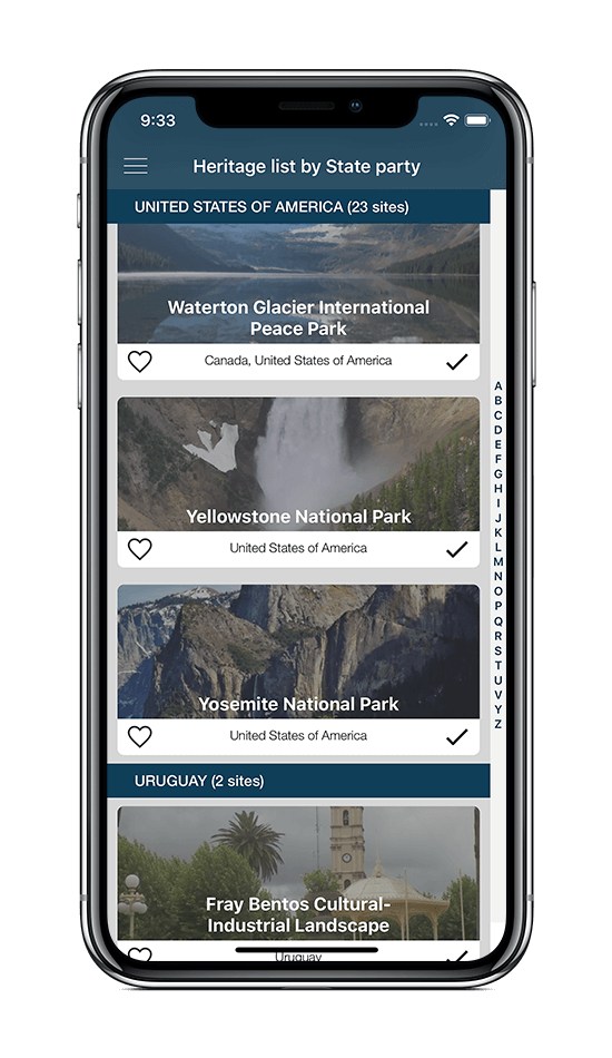 World Heritage app - iOS